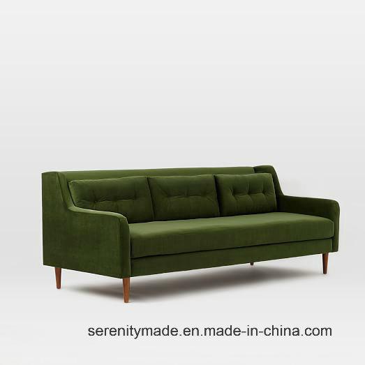 MID Century Navy Green Button Tulfted Fabric Sofa Restaurant Sofa