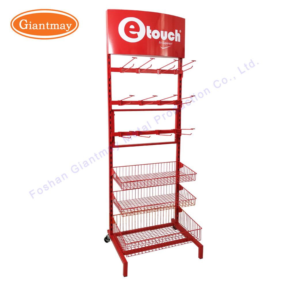 China Floor Standing Metal Wire Store Supermarket Display Racks with ...