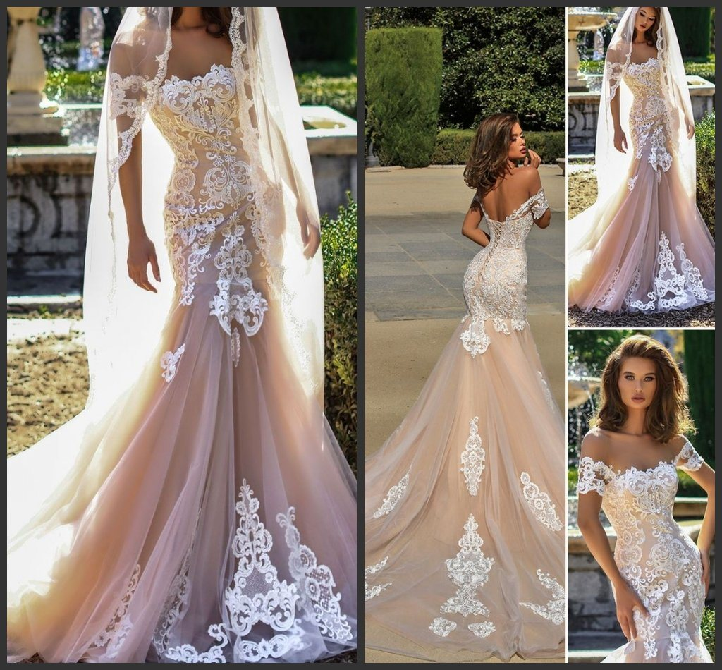 China Nude Champagne Wedding Gown Lace Strapless Bridal Wedding ...