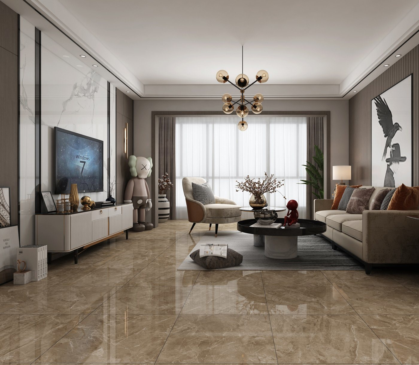China 600x600mm Dark Brown Marble Look Polished Glazed Porcelain Ceramic Floor And Wall Tile China Lobby Tile Ceramic Tile