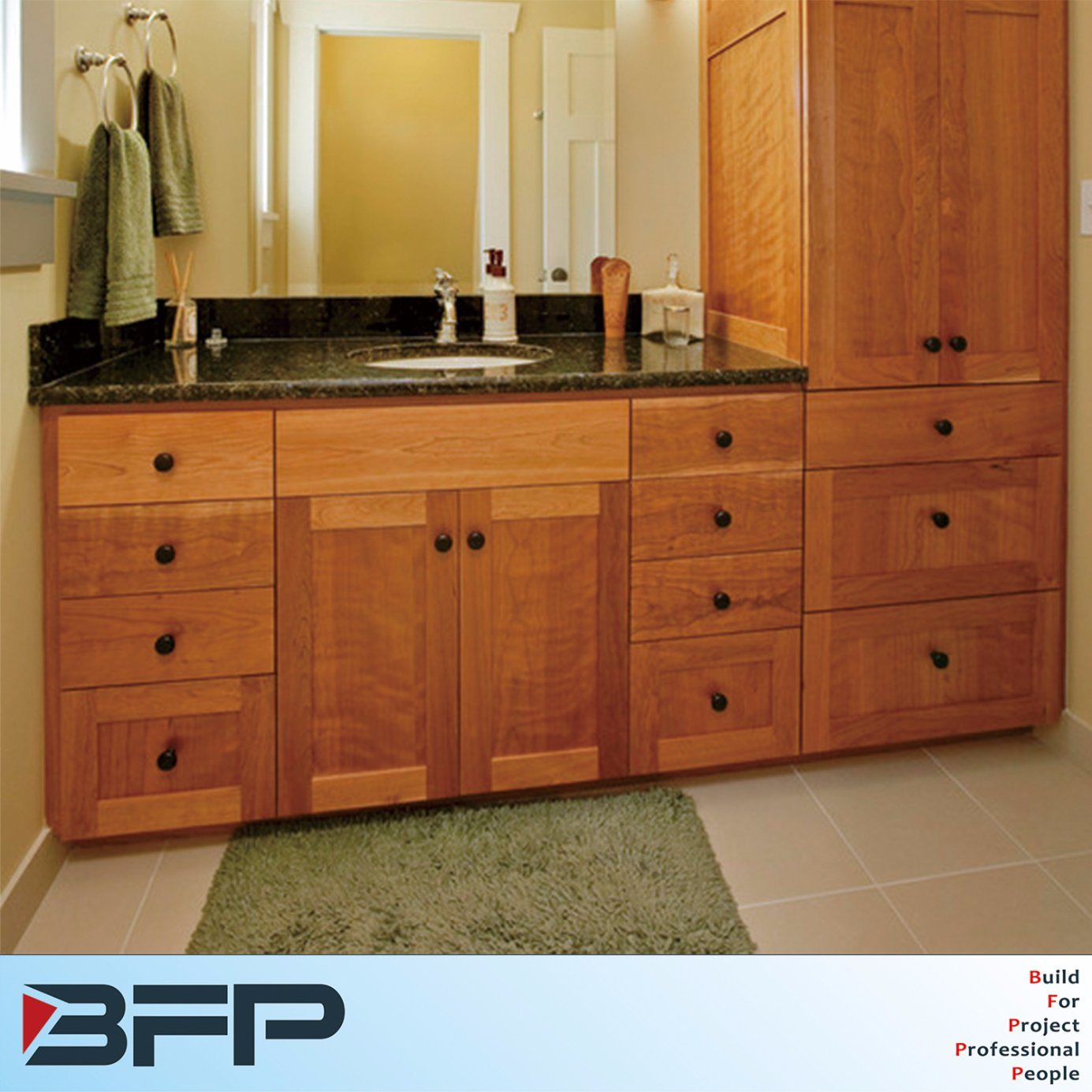 Hot Item America Style With Quartz Countertop Commercial Bathroom Vanity Units