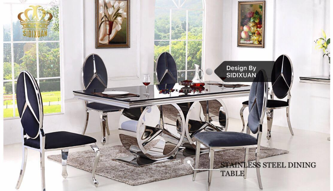 China High Quality Dining Table Glass Top Modern Dining Table Set