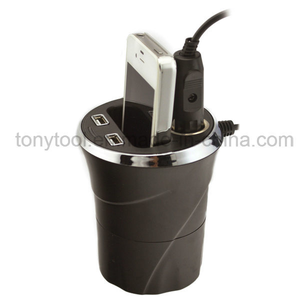 12V 2 USB Ports Cup Car Cigarette Lighter with 2 Socket pictures & photos