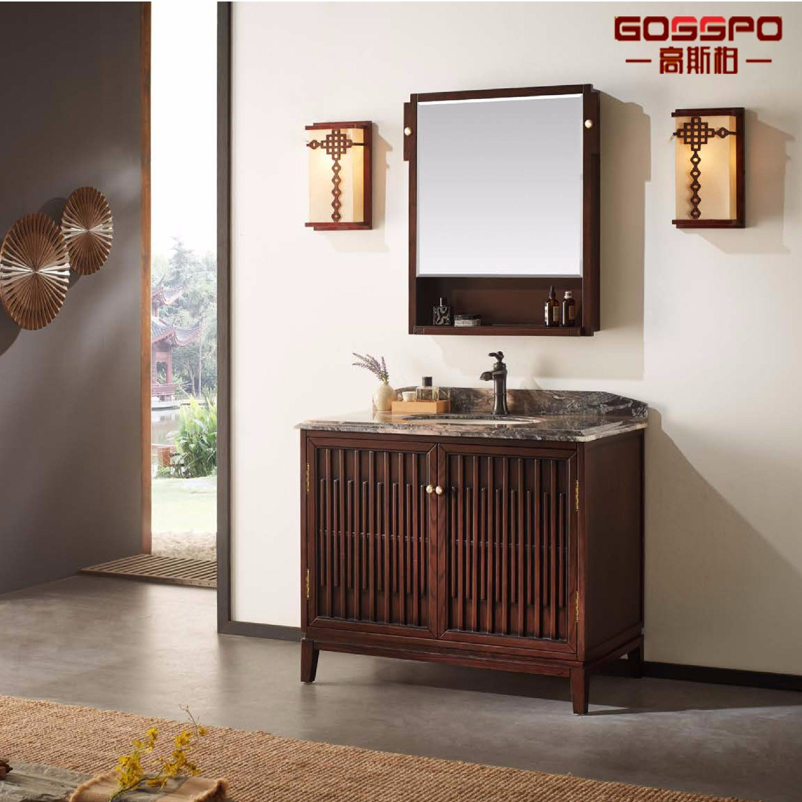 China Spanish Style Solid Wood Mahogany Bathroom Floor Cabinet Gsp9 008 China Bathroom Cabinets Bathroom Floor Cabinet