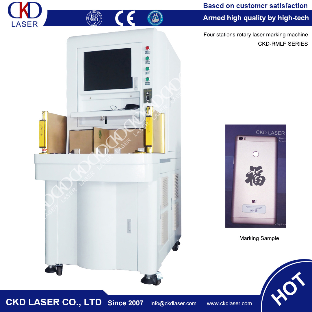 50W Sealing Automatically Four Station Rotary Laser Marking Machine