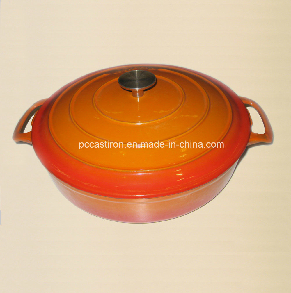 Hot Sale Red Enamel Cast Iron Braising Casserole Size 30X6cm pictures & photos