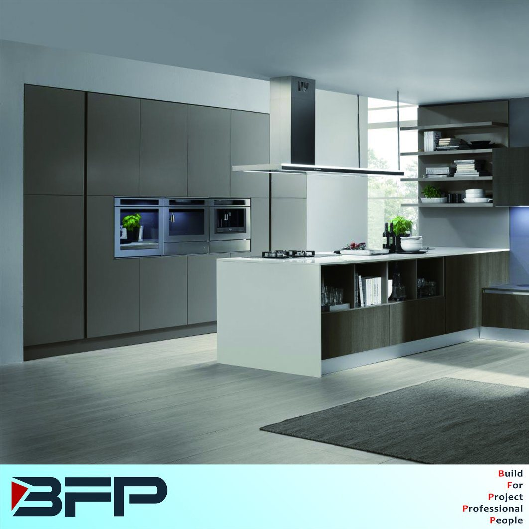 China Modern Wooden Kitchen Cupboards with Concealed Handle - China ...