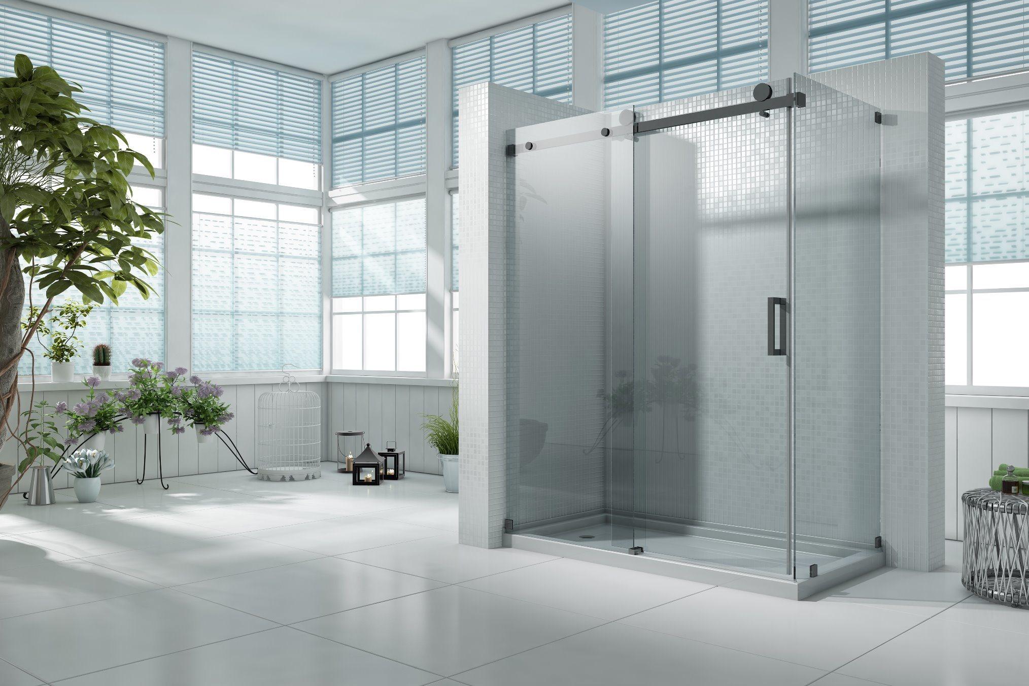 Hot Item Hr 04a Matte Black Non Scratch Square Sliding Shower Door