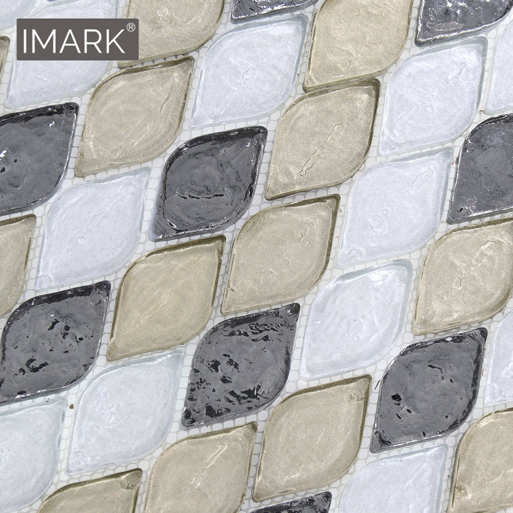 - China Leaf Leaves Shapes Iridescent Glass Mosaic Tile For Kitchen