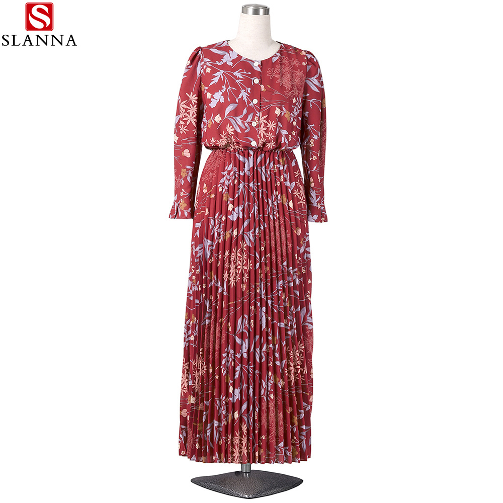 Long Sleeve Muslim Women Floral Printed Pleated Chiffon Dress