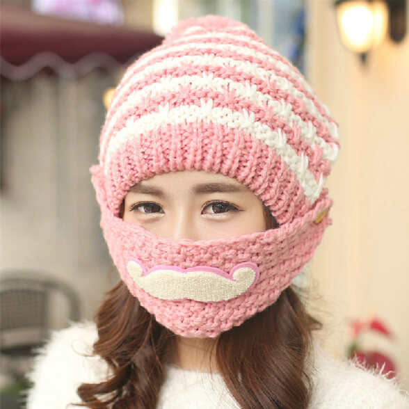 Fashion Mask Beard Handmade Knitting Knitted Hat