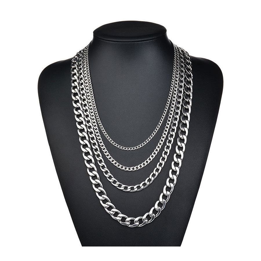 China High Polished 5mm 16 Inches Stainless Steel Double Curb Chain Necklace Franco Cuban Chains For Men Women China Gold Cuban Chain And Necklace Plain Chain Price