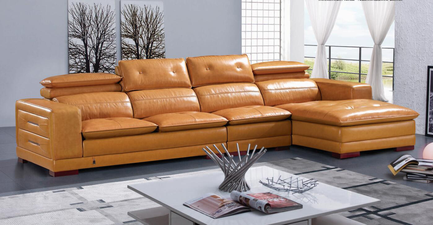 [Hot Item] Imported Genuine Leather Modern Sofa Set with Chaise
