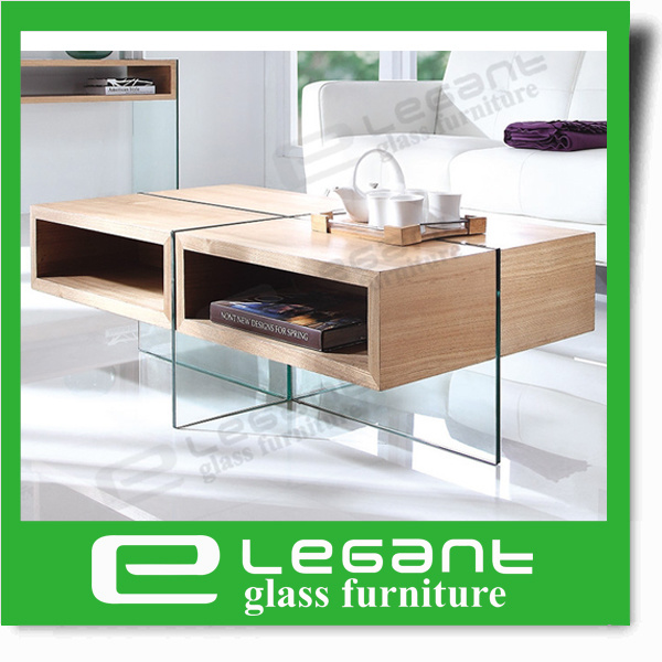 Clear Bent Glass Coffee Table with Chou-Heung Wood Veneer Shelf pictures & photos