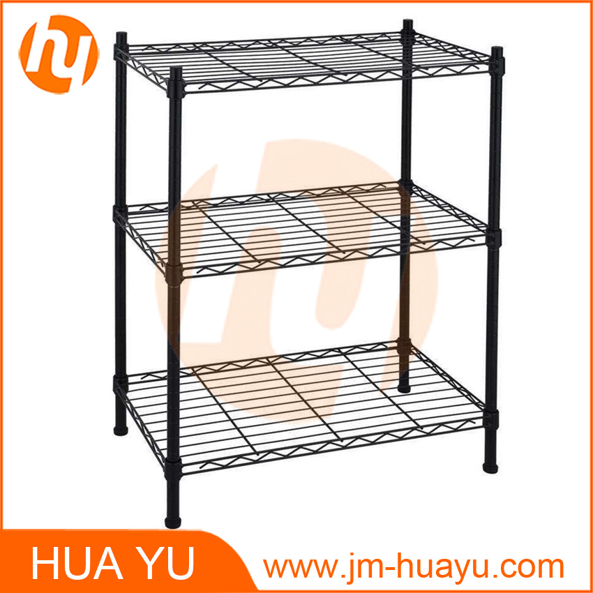Powder Coating Black 3-Tiered Wire Shelf/Storage Shelving