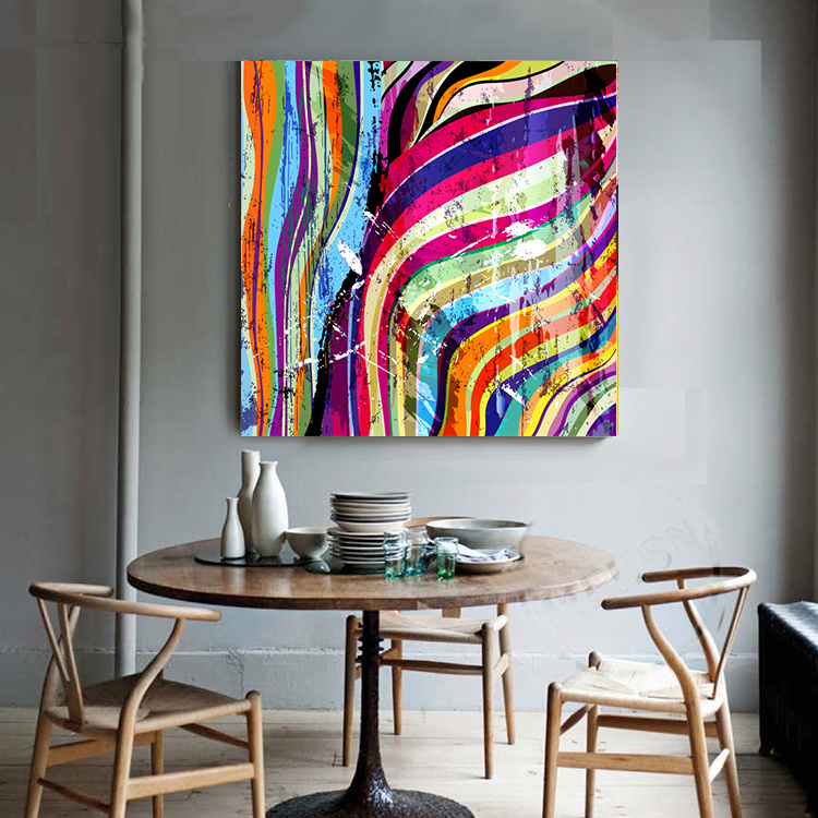 Colorful Abstract Canvas Painting for Decor