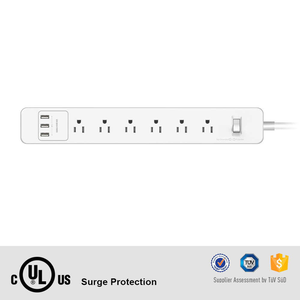 Great Quality UL cUL 6 Port AC Outlet Power Strip with 3 5V 2.4A USB Output pictures & photos