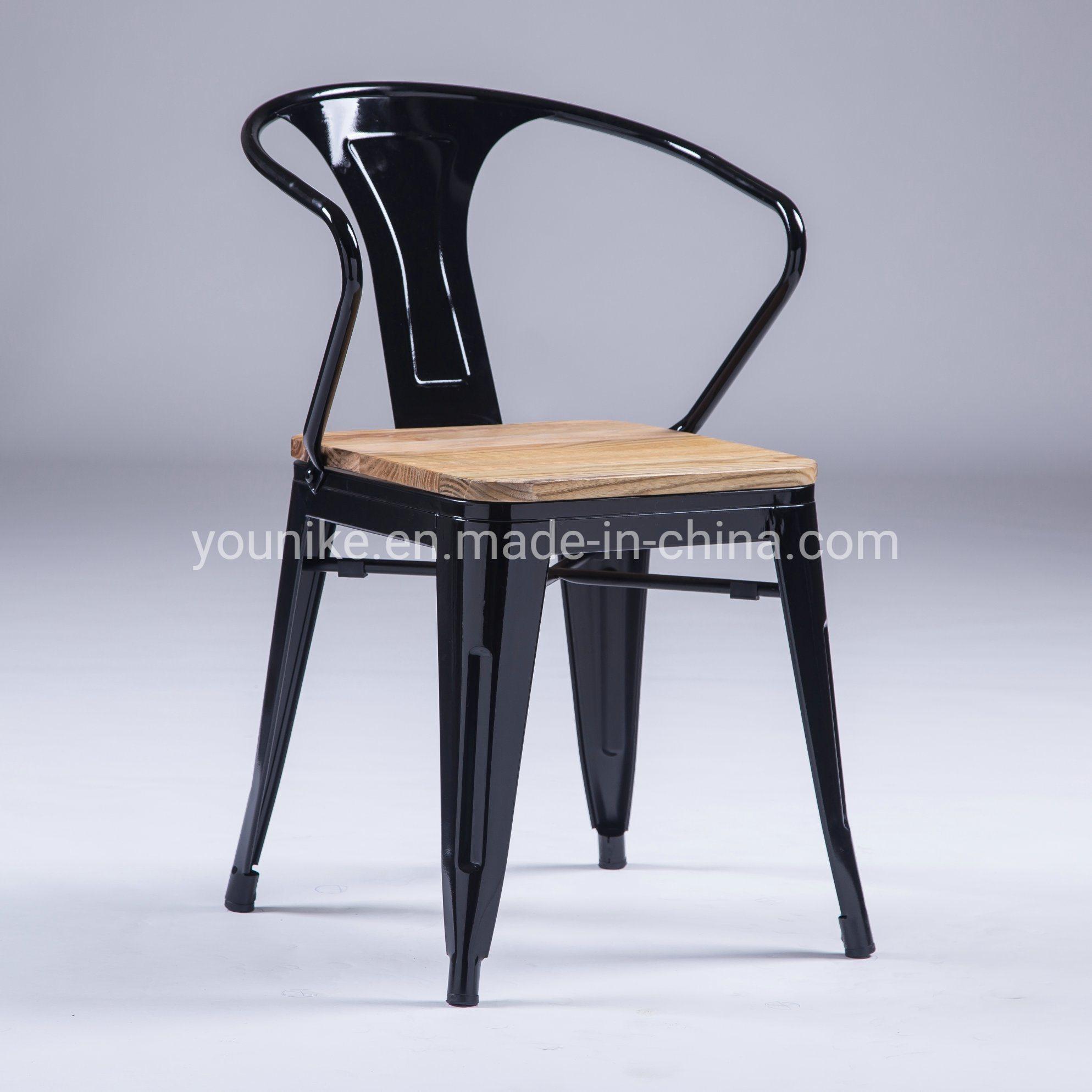 Super Hot Item Industrial Armchair Tolix Metal Dining Chair Wood Seat Polishing Black Machost Co Dining Chair Design Ideas Machostcouk