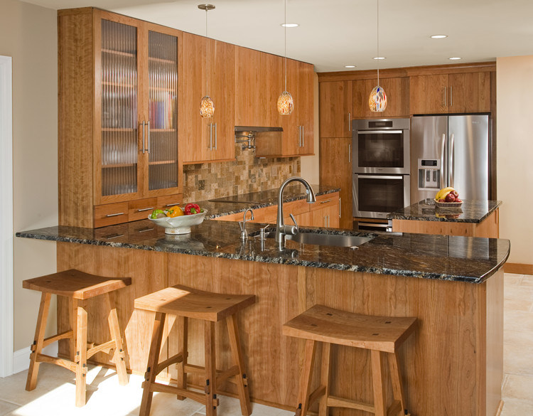china wood lacquer kitchen cabinet with bar counter