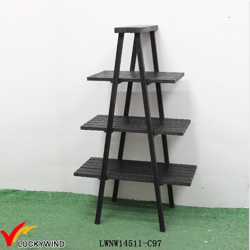 China 3 Tier a Frame Black Decorative Wooden Ladder Shelf - China ...