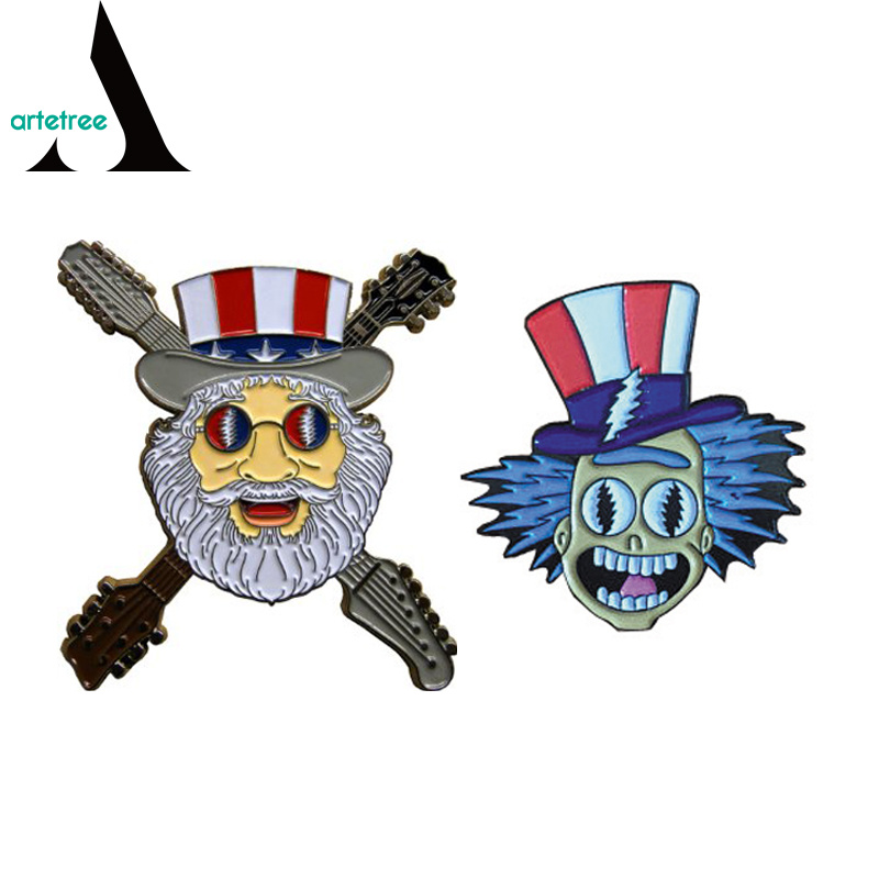 China Skull Head Grateful Dead Bear Metal Custom Pin Badge