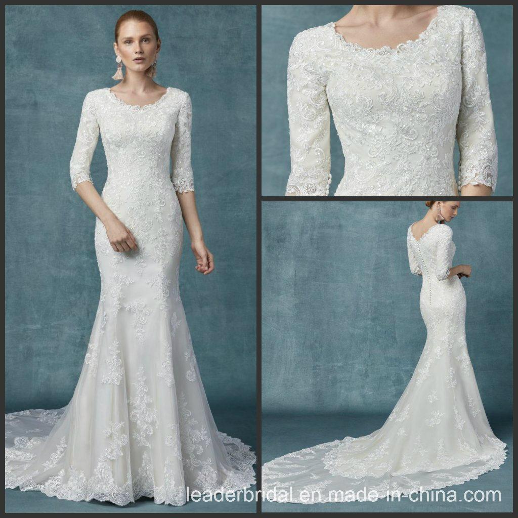 China Lace Wedding Gowns 34 Sleeves Mermaid Muslim Wedding Dress