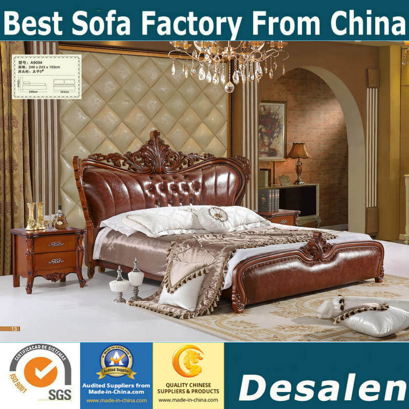 [Hot Item] Brown Color Classic Bedroom Furniture Sets Royal Leather Bed  (A909)