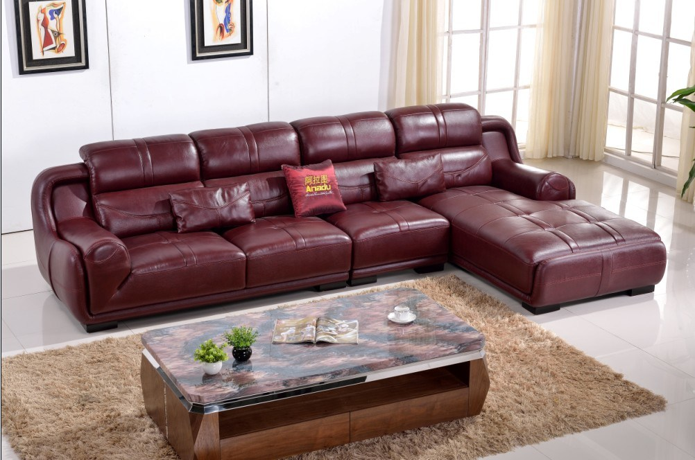 Swell China Burgundy Color L Shape Leather Corner Sofa Of Home Download Free Architecture Designs Momecebritishbridgeorg