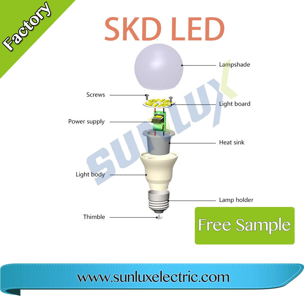 Skd 3 Parts Led Bulb 5w 7w 9w 12w 15w Raw Material