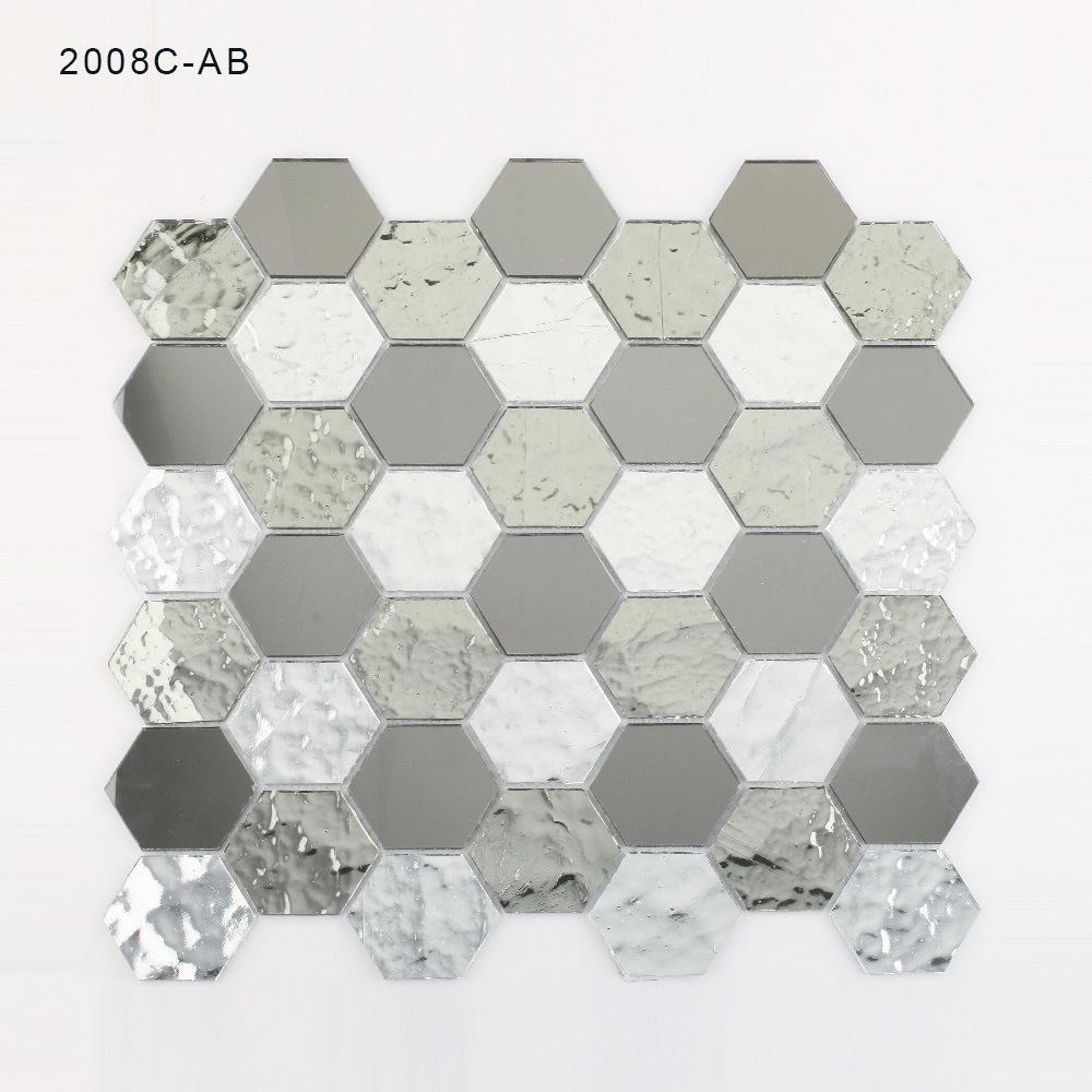 China Hexagon Bathroom Wall Backsplash Mirror Silver Mosaic Tiles ...