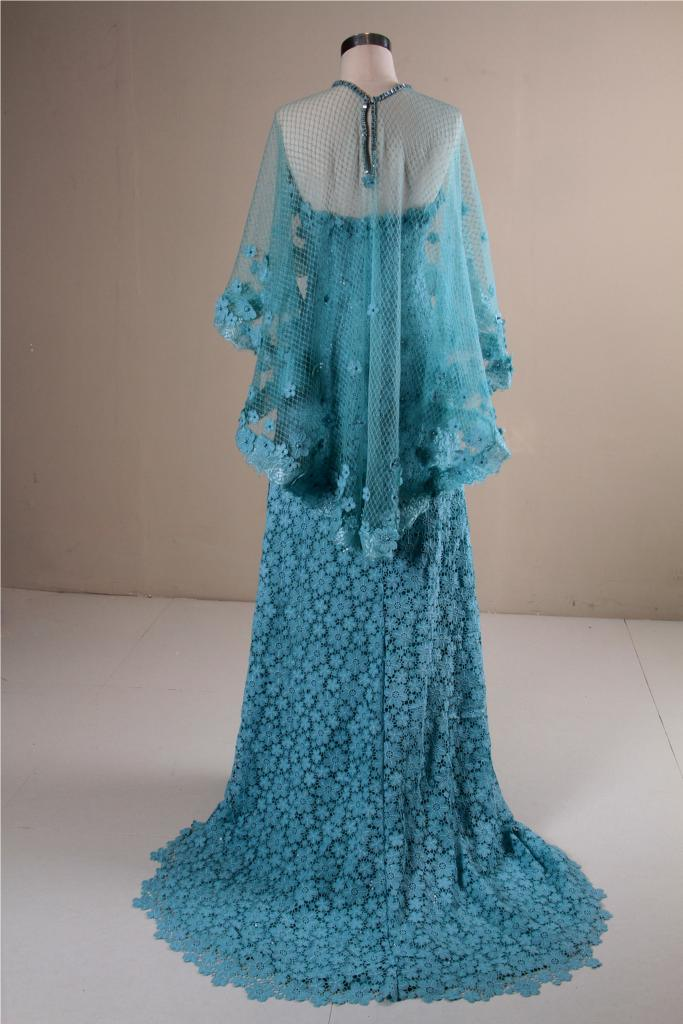 China New Fashion Blue Lace Party Dress Evening Gown with Shawl ...