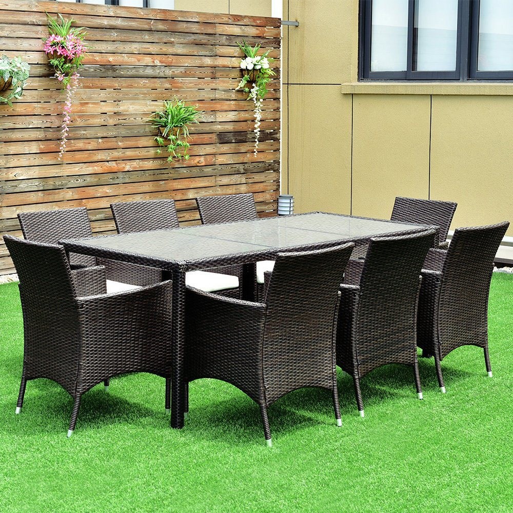 Prime Hot Item Outdoor 9Pcs Patio Furniture Brown Rattan Table Chairs Garden Dining Set With Cushions Short Links Chair Design For Home Short Linksinfo