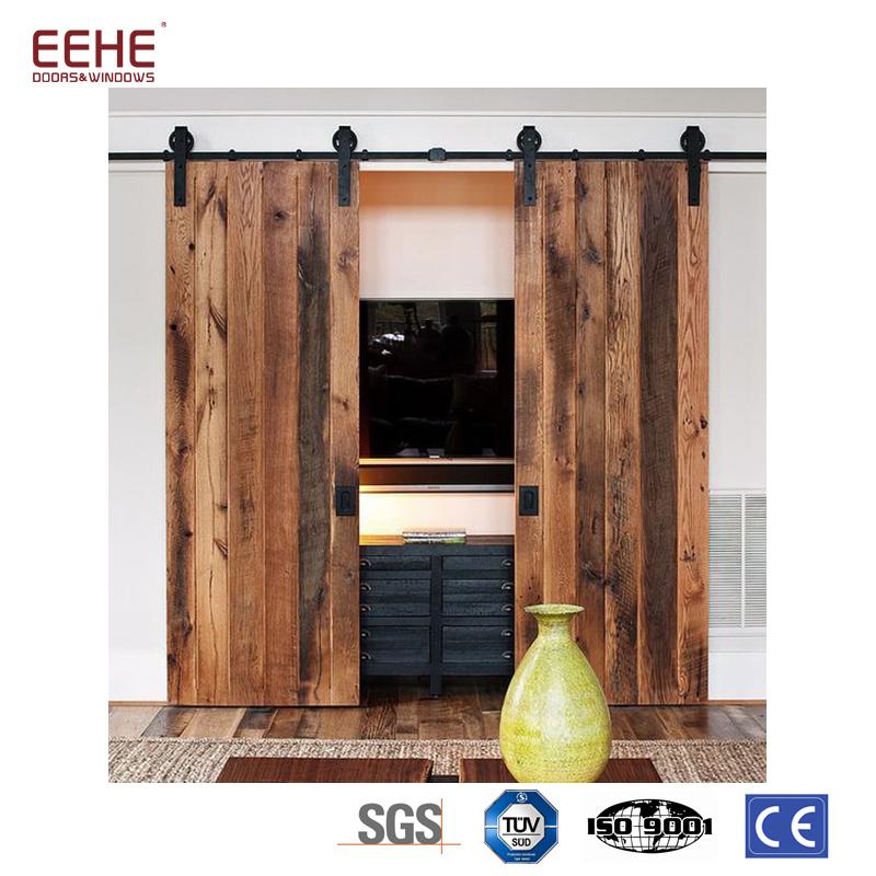 China Wood Veneer Double Glass Interior Pocket Door Photos
