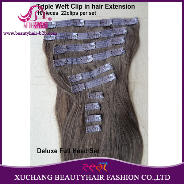 China Luxury Hair Quad Weft Clip In Hair Extension Full Head Set