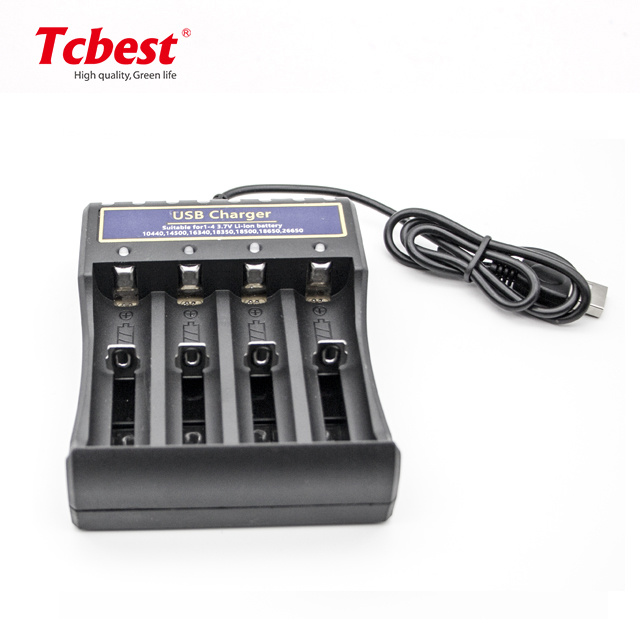 2 Pcs 3.7V 18500 1400mAh Li-ion Rechargeable Battery with 2 Slot Universal Smart Battery Charger for Li-ion Rechargeable Batteries