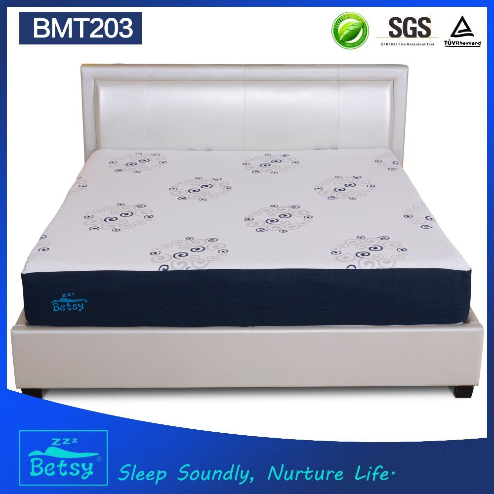 OEM Resilient Cheap Sponge Mattress 25cm High with Gel Memory Foam and Knitted Fabric Zipper Cover pictures & photos