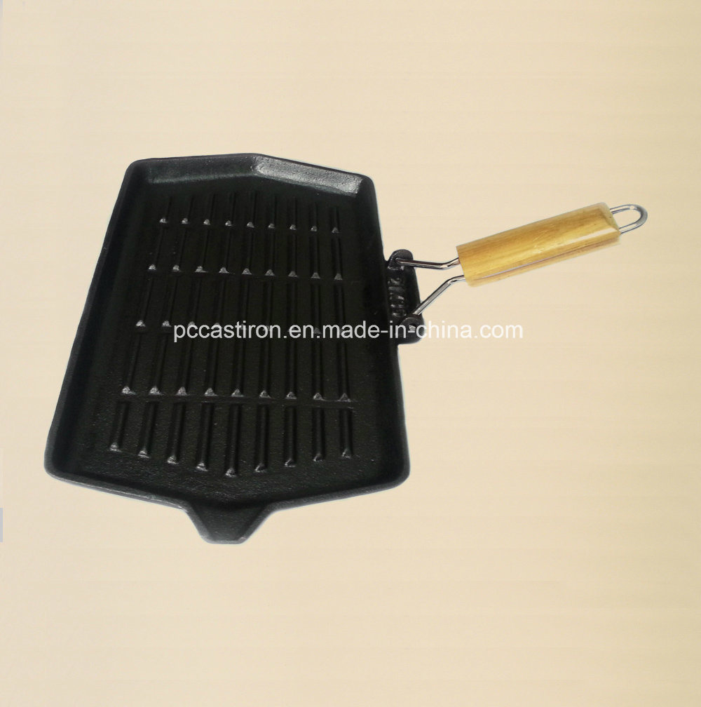 Non-Stick Cast Iron Skillet with Wooden Handle Manufacturer From China pictures & photos