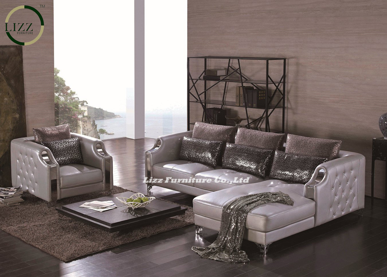 Luxury Classic Euro Style Leather Sofa (LZ-077)
