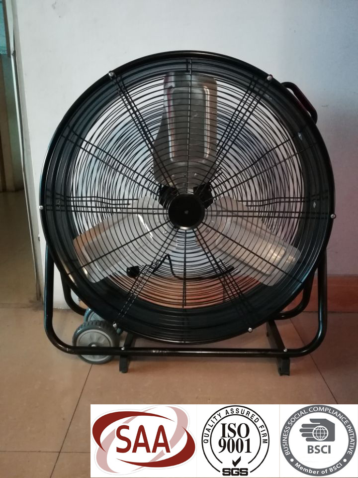 [Hot Item] 24′′ Portable Quiet Heavy Duty Garage Cool Air Industrial Drum  Fan SAA