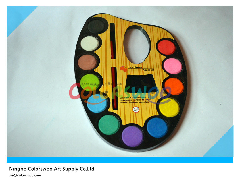 China 12 Color 3 0cm Water Color Cake With Brush For Painting And