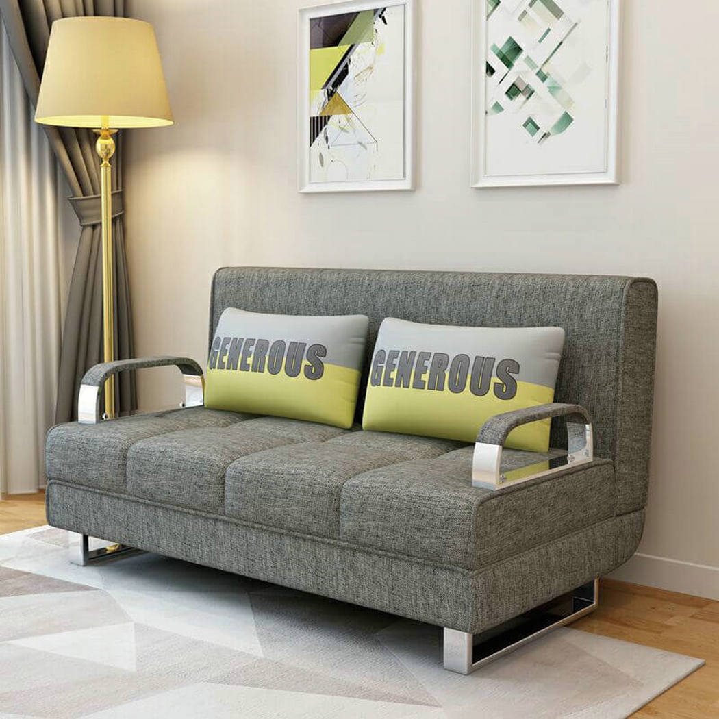 Grey Color Modern Small Apartment Loveseat Fabric Sofa Bed 1807