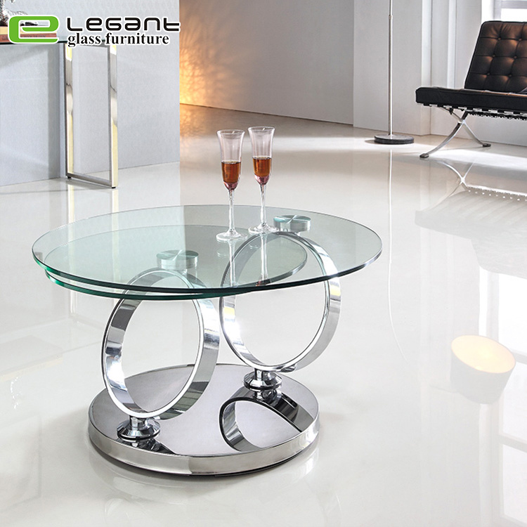 China Rotatable Tempered Glass Coffee Table With Stainless Steel