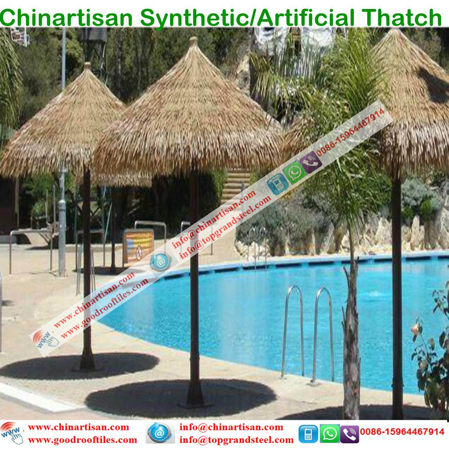 China Fireproof Artificial Africa Thatch Roof Bali Tiki Bar Hawaii Hut Synthetic Thatched Cottage Islands Resorts DIY Backyard