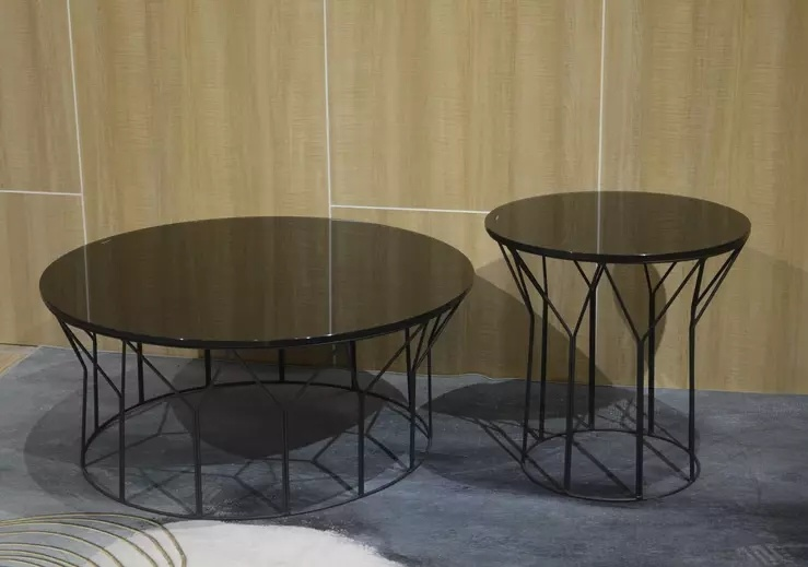 China Home Furniture Round Black Tempered Glass Coffee Table With