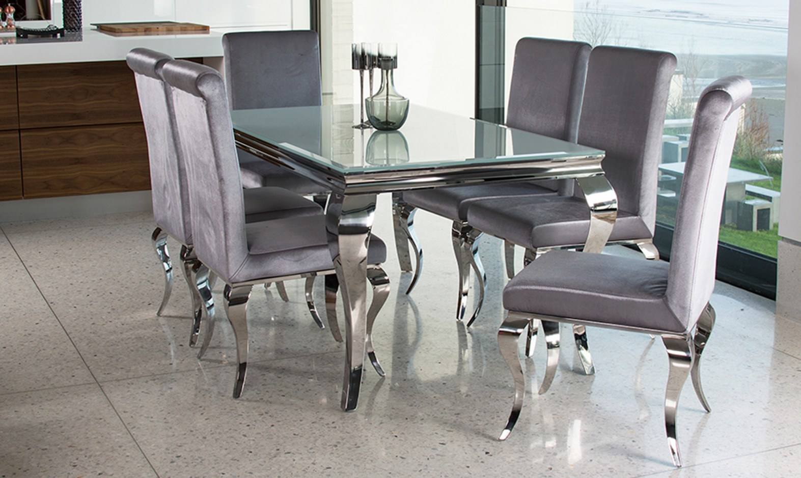 China Modern Home Dinining Furniture Louis Clear Gl Dining Table Set With Silver Chair