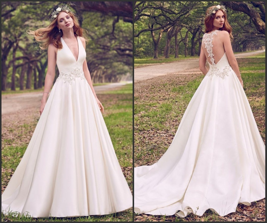 China Sleeveless Satin Ball Gown Beaded Appliqued Lace