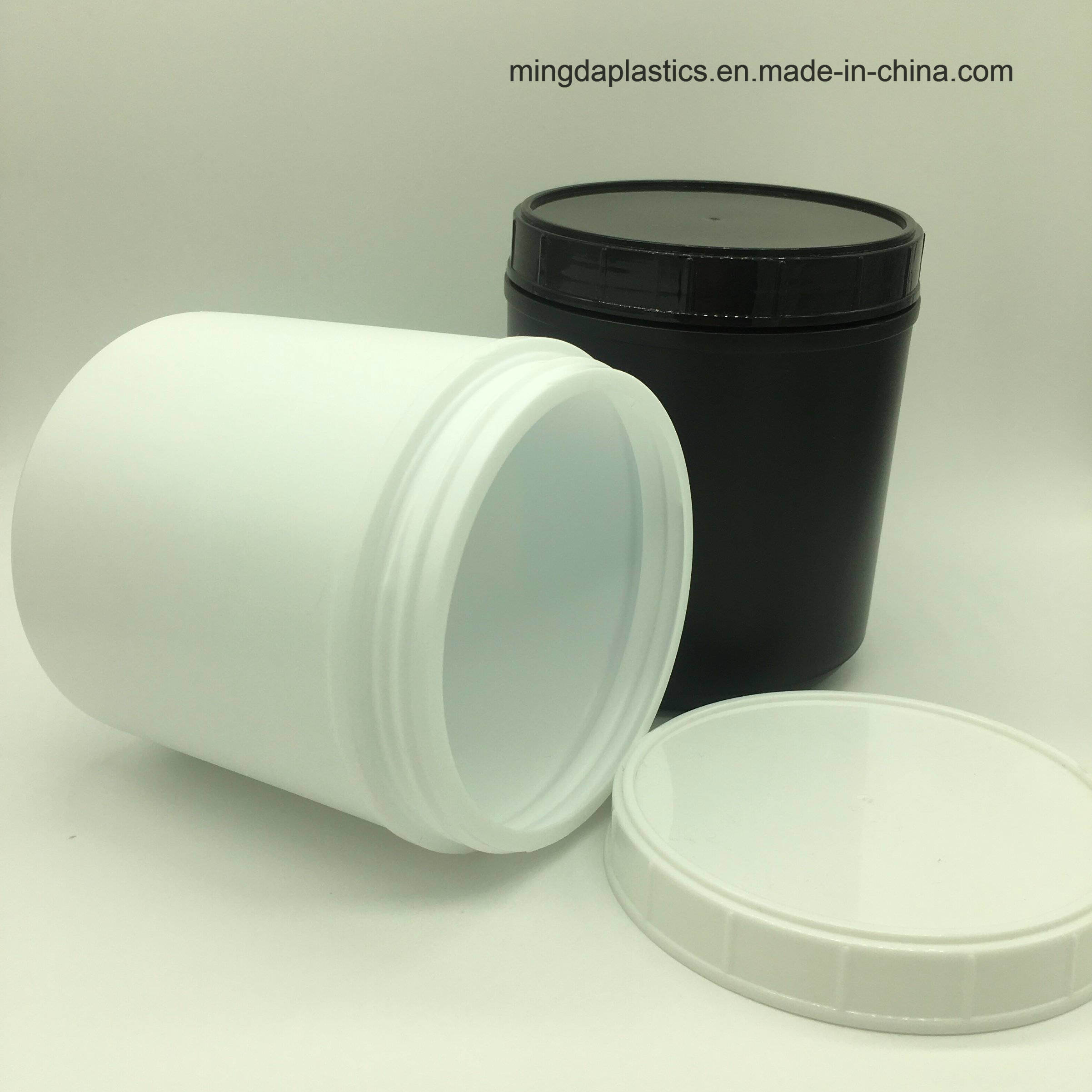 China Plastic White Protein Powder Bottles Pharmaceutical Round HDPE