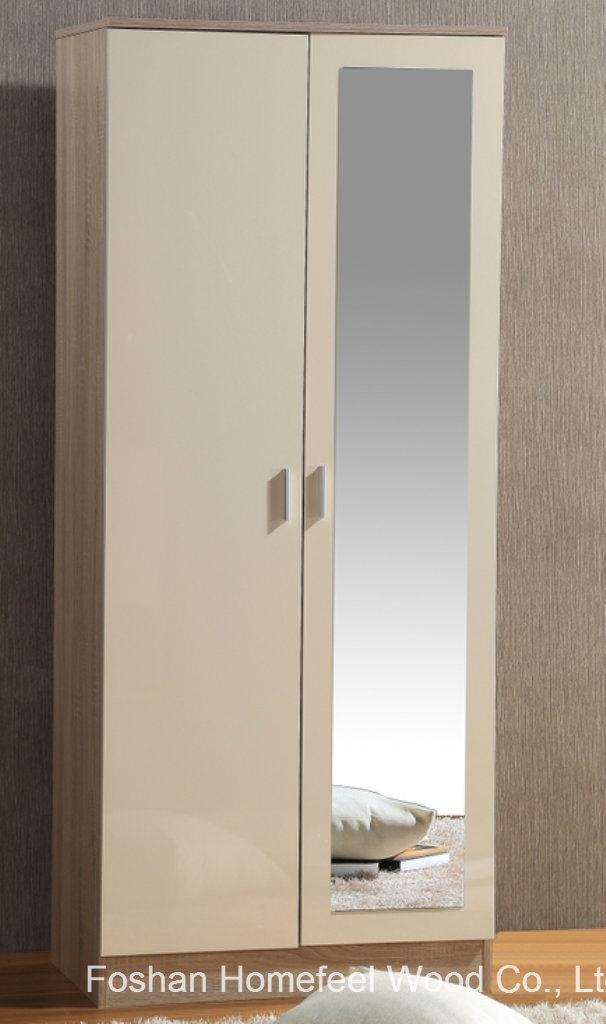 China Ottawa High Gloss 2 Door Wardrobe Closet With Mirror China