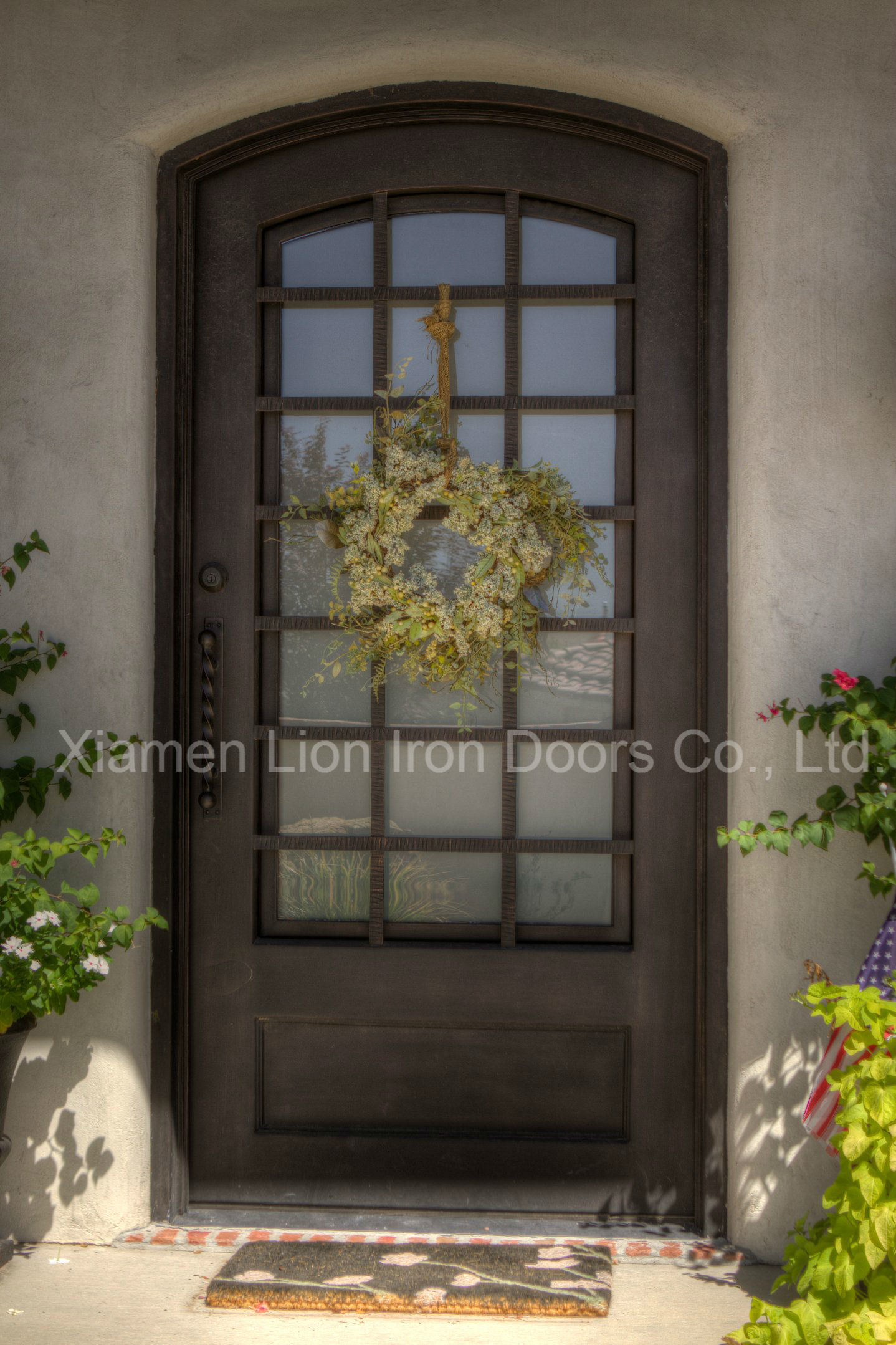 High Quality Steel Security Door Tempered Glass Main Iron