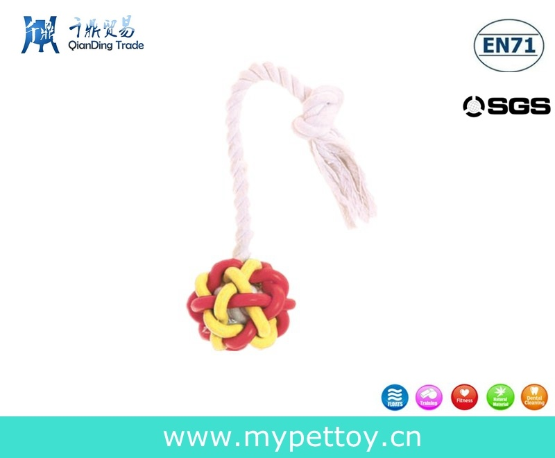 Colorful Rubber Ball Braided Rope Toy